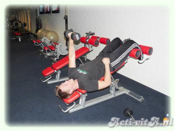 Dumbbell push crunch side bend